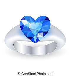 Ring with gemstone heart shaped isolated on white background