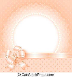 Elegant frame with beads and bow - Card template with beads...