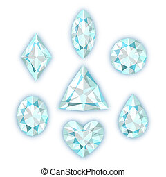 Set of diamonds isolated on white