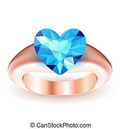 Ring with topaz heart shaped isolated on white background