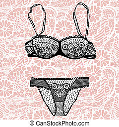 Hand drawn vector sexy lingerie set - Lacy sexy bra and...
