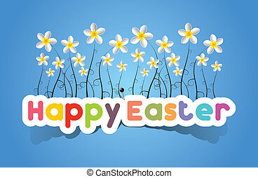 Happy Easter Card With Spring Flowers vector illustration