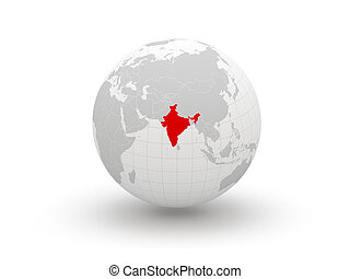 Globe. 3d. India. Elements of this image furnished by NASA