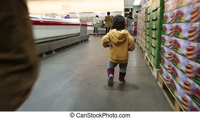 Baby Toddler At The Store 4 - 4) Glidecam video shot of baby...