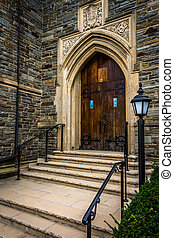 Front steps of a church in Hanover, Pennsylvania