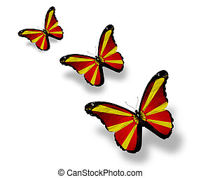 Three Macedonian flag butterflies, isolated on white