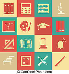 Vector seamless pattern with education icons - abstract -...