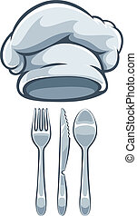 Kitchen utensils fork knife spoon and cooks cap Eps10 vector...