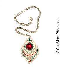 Pendant with colorfull beads on white