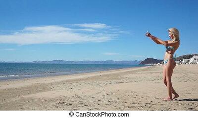 Beach Bikini Girl Selfie