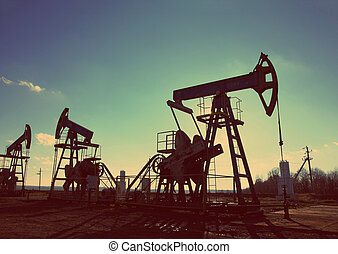 oil pumps silhouette - vintage retro style