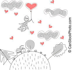 Doodle Girl Flies on Ball in the Rain of Hearts vector