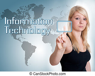 Information Technology - Young woman press digital...