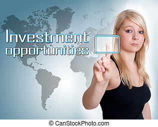 Investment opportunities - Young woman press digital...