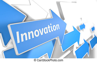 Innovation 3d render concept with blue and white arrows...