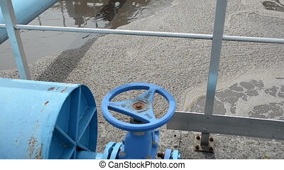 rusty tap water treatment - Blue stopcock tap valve gate and...