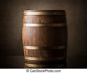 Brown barrel - Old wooden barrel on a brown background