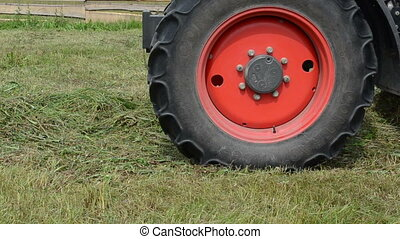 tractor collect hay field - Closeup special machine tractor...