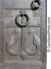 anchor - detail of entrance in Naval Cathedral - Kronstadt...