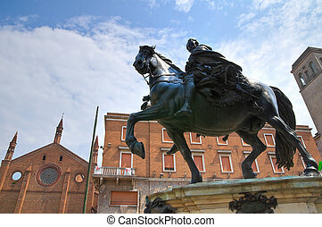 Bronze statue. Piacenza. Emilia-Romagna. Italy.