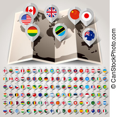Map world with flags. Big paper set