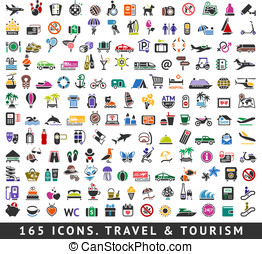 165 colors icons. Travel and Tourism, vector illustrations