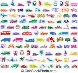 104 Transport icons set stickers, vector illustrations