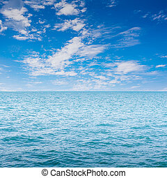 Blue clear sea with waves and sky