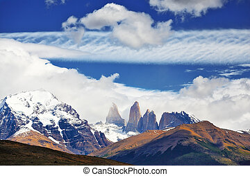 Fabulous harmony of the national park Torres del Paine in...
