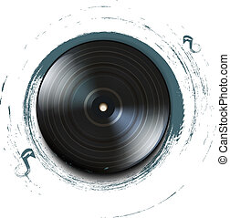 Grunge vinyl record icon on background