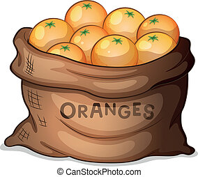 A sack of oranges - Illustration of a sack of oranges on a...