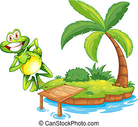 An island with a playful and smiling frog - Illustration of...