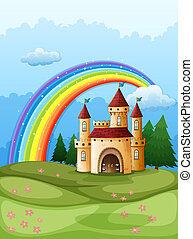 A castle at the hilltop with a rainbow - Illustration of a...