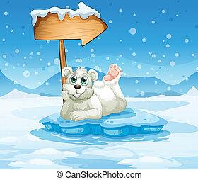 An iceberg with a bear and an arrow - Illustration of an...