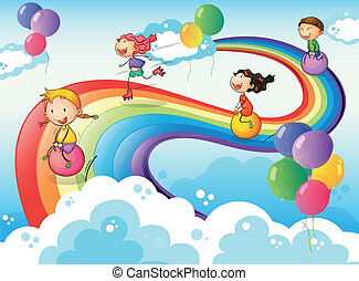 A group of kids playing at the sky with a rainbow -...