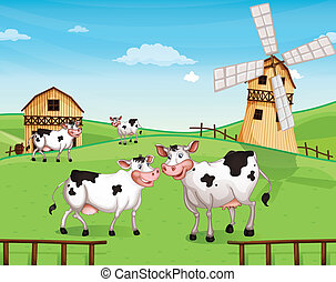Cows at the hilltop with a windmill - Illustration of the...