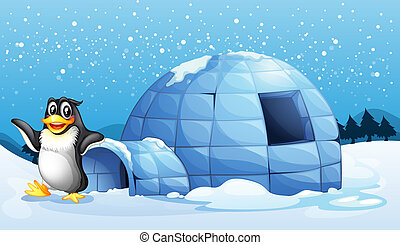 A penguin beside the igloo - Illustration of a penguin...