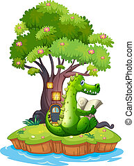 A crocodile in an island reading - Illustration of a...
