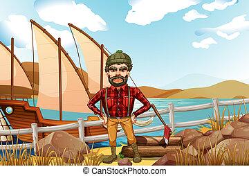 An angry lumberjack near the ship
