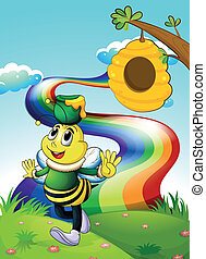Illustration of a smiling bee carrying a pot of honey at the hilltop with a rainbow