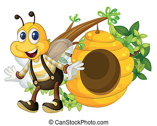 A smiling yellow bee near the beehive - Illustration of a...