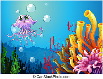 An octopus and the coral reefs under the sea - Illustration...