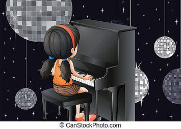 A young girl playing with the piano with disco balls -...
