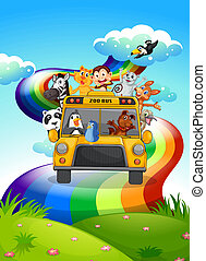 A zoo bus travelling through the rainbow road - Illustration...