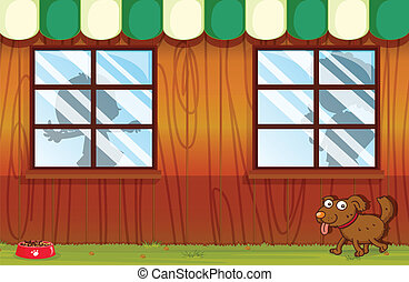 A pet outside the house - Illustration of a pet outside the...