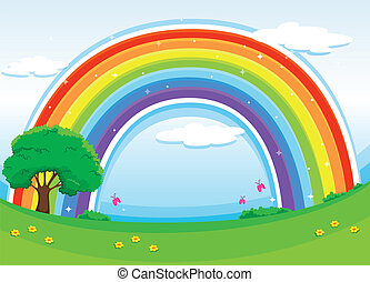 A rainbow in the sky - Illustration of a rainbow in the sky