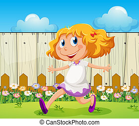A happy girl playing at the backyard - Illustration of a...