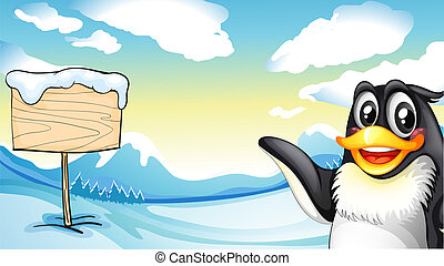 A penguin across the empty wooden board - Illustration of a...