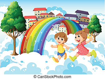 Kids playing near the rainbow - Illustration of the kids...