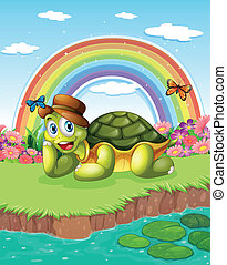 A turtle at the pond with a rainbow in the sky -...